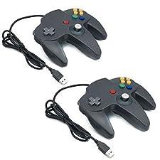 QUMOX 2X Controles Mandos de Juegos Clásicos N64 Para USB a PC/MAC Color Negro