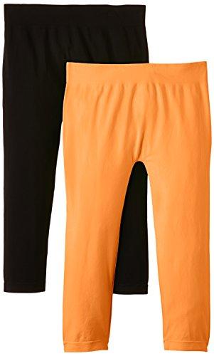 Luigi di Focenza Damen Matt Fein Legging 1712, 2er Pack, 100 DEN Orange (neonorange-schwarz 299/001)