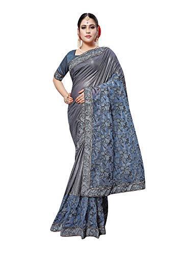 947d2a80d7a53 Shringaar Fashion® Lycra   Net Saree with Blouse Piece.(SK1191 Grey