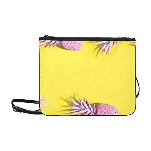 WYYWCY Mode Ananas und rosa Muster benutzerdefinierte hochwertige Nylon dünne Handtasche Umhängetasche Umhängetasche - Ananas Grenze
