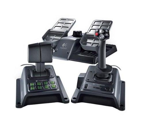 LOGITECH Flugsimulatorset Flight System G940 + USB-Hub 4 Ports UH-10 + USB 2.0 Kabel männlich/weiblich - 5 m (MC922AMF-5M) -