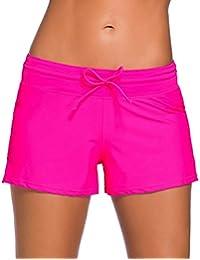 Minetom Bikini Shorts De Bain Femme Beach Été Piscine Plage Maillot Elastic Ceinture Drawstring Confortable Décontracté Minceur