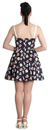 Hell Bunny EMMA Blüten FLOWER Vintage Mini Dress KLEID Rockabilly Dunkelblau mit weißen Punkten und bunten Blüten