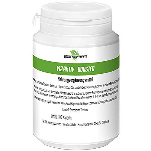12 Aktiv Booster, 100 Kapseln 5-Desoxy-5-Adenosylcobalamin, Dibencozide Energy Caps, Muskelaufbau Nahrungsergänzungsmittel
