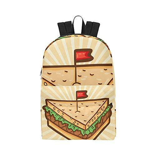 Happy Fast Food Sandwich Cartoon Klassisch Nette Wasserdichte Daypack Taschen Schule College Kausal Rucksäcke Rucksäcke Bookbag Für Kinder Frauen Und Männer Reisen Mit Reißverschluss Und Innentasche Fast-food-sandwiches
