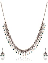 Ganapathy Gems Blue And White Metal Strand Necklace Set For Women (13275)