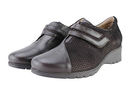 Chaussure femme confort en cuir PieSanto 175962 Velcro confortables amples Caoba (Brown)
