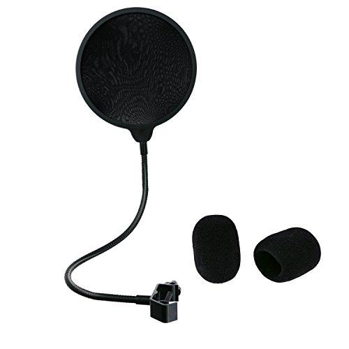 Philonext Filtermaske Schild, Gesangsmikrofon Pop Runde Form Dual Layer Windmaske Schild mit Standfuß Clip für Aufnahme, Gesang und Home Broadcast Studio (schwarzer Filter)