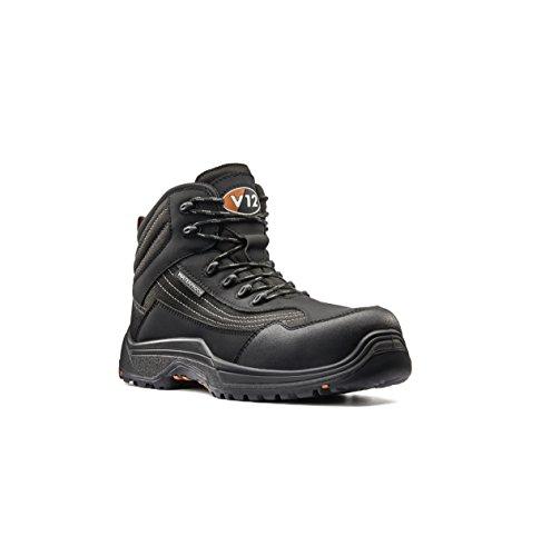 V12 Boulder, Black Hide Derby Safety Boot, 07 UK 41 EU, Black