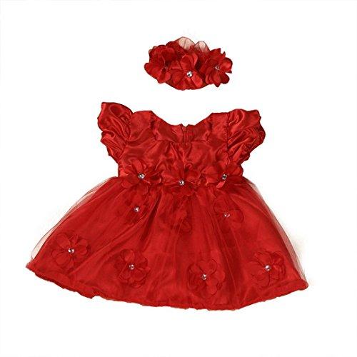 Bekleidung Longra Baby Mädchen Kleinkind Princess Pageant Spitzenkleidern Blumenmädchen Kleider(0-24Monate (70CM 6Monate, red)