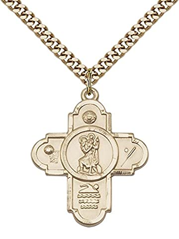 14ct Gold Filled 5-Way St Christopher/Sports Pendant with 24