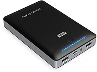 Portable Charger RAVPower 16750mAh Power Bank External Battery Pack with Most Powerful 4.5A Output and iSmart Technology - Black