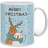 Indigifts Christmas Decoration Merry Christmas Printed Blue Coffee Mug 330 Ml - Christmas Mugs, Xmas Decorations, Christmas Gifts, Xmas Mugs, Quirky Gifts
