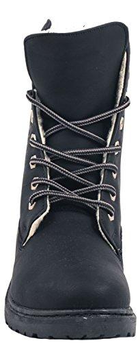 Elara Damen Biker Boots | Gemütliche Worker Stiefeletten | Warm Gefüttert | chunkyrayan Navy Mailand