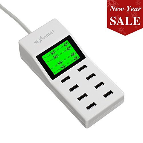 NEXGADGET Cargador USB 8 Puertos Inteligente Base de Carga con Pantalla LED Cable de 1,4 m para iPhone, iPad, Samsung Galaxy, Teléfonos móviles