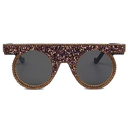 Daawqee NEW Sunglasses Rhinestone Sunglasses Women Luxury Vintage Round Sunglasses Men Steampunk Shades For Women Oculos purple