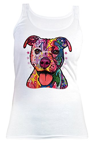 Hunde/Spaß/Girlie-Top/Träger-Shirt/ Damen Tank Top Neon-Druck: Pitbull für Hundefreunde