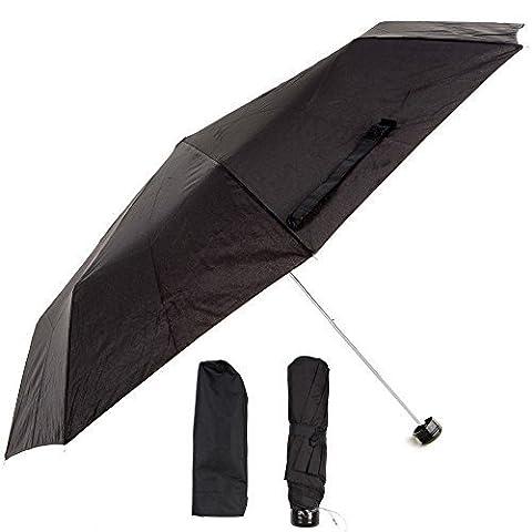 Hommes Femmes Noir Super Mini Parapluie parapluie compact pliable Sac