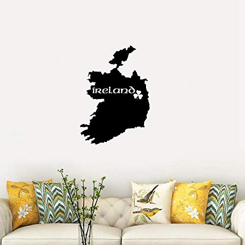 wandaufkleber 3d Karte von Irland Dublin Shamrock Symbol