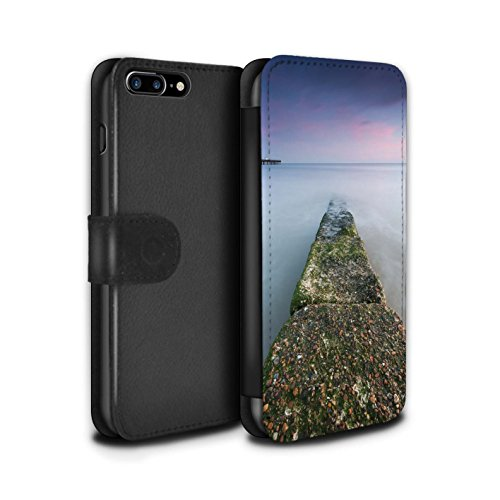 Stuff4 Coque/Etui/Housse Cuir PU Case/Cover pour Apple iPhone 8 Plus / Jetée Design / Bord Mer Anglaise Collection Défense Maritime