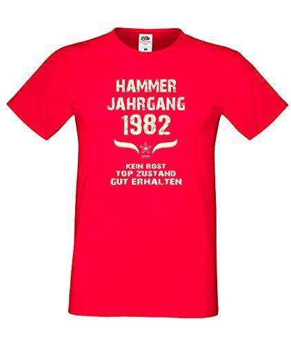 Sprüche Motiv Fun T-Shirt Geschenk zum 35. Geburtstag Hammer Jahrgang 1982 Farbe: schwarz blau rot grün braun auch in Übergrößen 3XL, 4XL, 5XL rot-01