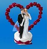 Tortenfigur Tischfigur Hochzeit Brautpaar mit Rosen-Herz in rot für die Hochzeit