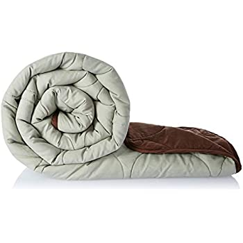 Amazon Brand - Solimo Microfibre Reversible Quilt Blanket, Single, 120 GSM, Pistachio Green and Walnut Brown