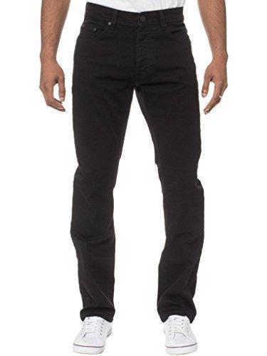Enzo Herren Klassisch Gerade leg regular fit schwarz Twill Jeans - Schwarz, 44W / 30L (Fit Twill Jeans)