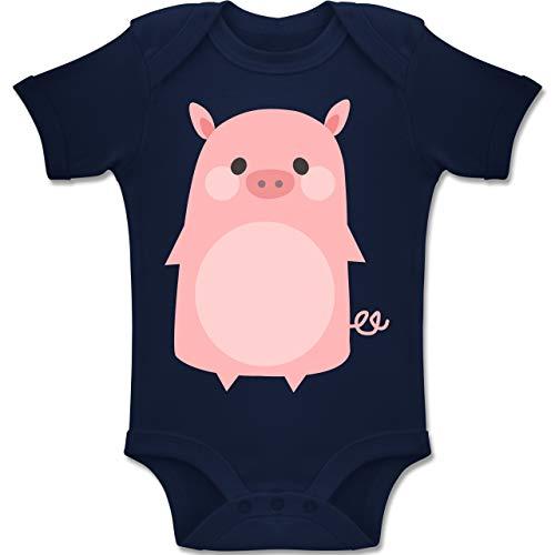 Shirtracer Karneval und Fasching Baby - Fasching Kostüm Schweinchen - 6-12 Monate - Navy Blau - BZ10 - Baby Body Kurzarm Jungen Mädchen (Ferkel Baby Kostüm)