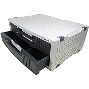 AIDATA Deluxe Monitor/Printer Plinth with Drawers - Grey