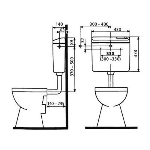 Sanit WC-Spülkasten # 928 weiß tiefhängend Spülmenge 6 bis 9 Liter einstellbar