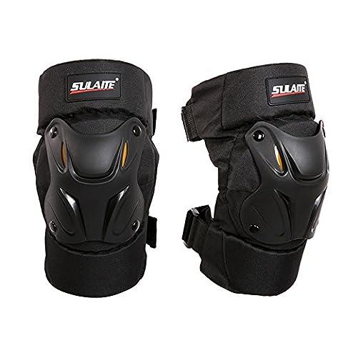 Qlan Motorcycle Motocross Bike Racing Knee Pads Protector Guards Armor Gear Black 1Pair