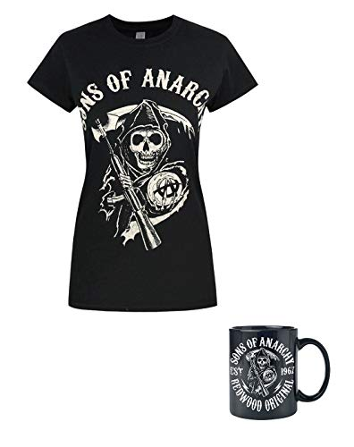 Sons of Anarchy Reaper Women's T-Shirt and Mug Gift Bundle (Sons Of Anarchy Womens)