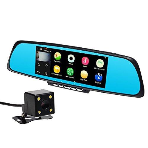 Toguard 7 pollic, con specchio per auto Smart WiFi, GPS Navigation SAT NAV, da cruscotto, doppio obiettivo con 1080P fotocamera, Touch Screen,-Specchietto retrovisore con telecamera, Android 4,4, 1 GB RAM, ROM 16, senza GPS Map
