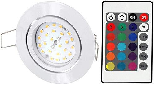 LED RGB Slim Spot Einbaustrahler 230V schwenkbar - mit Fernbedienung - Farbwechsel - 3-stufig dimmbar - Memory-Funktion - weiß -