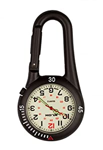 Klox Black Belt Carabiner Clip on style Nurse Fob Watch with luminous dial by Klox