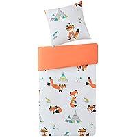 SCM Kinder Bettwäsche 135x200cm Orange 100% Baumwolle 2-teilig Bettbezug Kopfkissenbezug 80x80cm mit Fuchs Renforcé Mädchen Jugendliche Teenager Kinderbett Friendly Fox