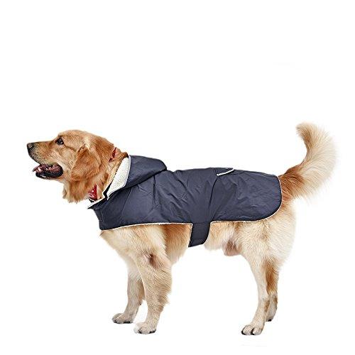 PRIMA Manteau d'hiver Imperméable pour chien grand ou gros chaud Veste d'hiver à capuche détachable pour chien petit ou moyen Vêtement d'hiver pour chien grand Couleur Bleu foncé Taille XXL