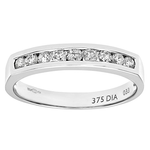 Naava - Anillo para Mujer de Oro Blanco 9K con 9 Diamantes 0.33 ct Talla 18