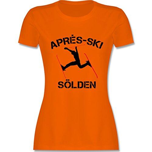 Après Ski - Apres Ski Sölden - tailliertes Premium T-Shirt mit Rundhalsausschnitt für Damen Orange