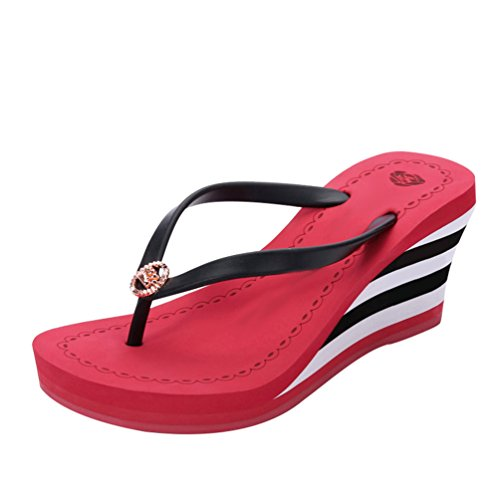 LINNUO Infradito Donna Zeppa Flip-Flop a Strisce Sandali Piattaforma Pantofole con Tacco Ciabatte da Mare Spiaggia con Metallo (Rosso,CN 38)