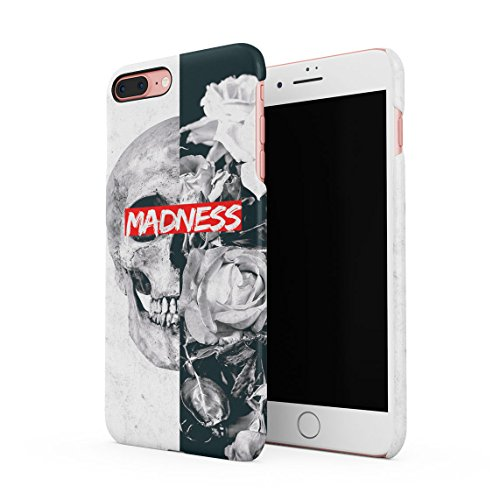 Queen Skull Madness Vintage Blumen Roses Grau Marmor Dünne Rückschale aus Hartplastik für iPhone 7 Plus & iPhone 8 Plus Handy Hülle Schutzhülle Slim Fit Case Cover