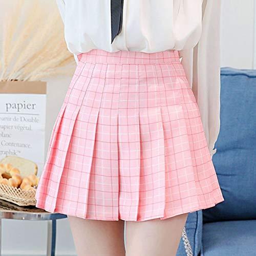 Plissee Tennis Rock (Noradtjcca Mode Frühjahr Sommer Frauen hohe Taille Rock schlank Komfort Gitter Plissee Skater Tennis Schule Rock Minikleid)