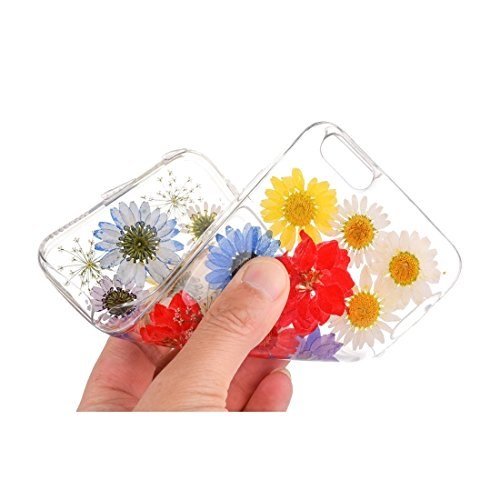 Pour iPhone 7 Epoxy Dripping Pressed Real Dried Flower Soft Transparent TPU Housse de protection JING ( SKU : Ip7g2996f ) Ip7g2996h