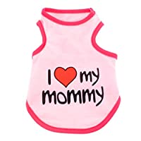 smalllee_lucky_store I Love My Mommy Daddy Dog T shirt for Small Dogs Summer Tank Vest Puppy Sleeveless Shirt Chihuahua Shih Tzu Clothes,Pink,Medium