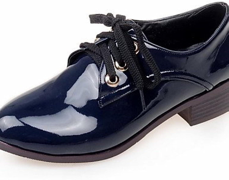 ZQ hug Zapatos de mujer - Tacón Bajo - Puntiagudos - Oxfords - Exterior / Casual / Deporte - Semicuero - Negro...