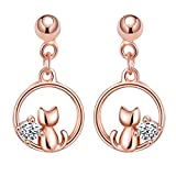Infinito U- Pendientes Gato para Mujer, Plata de Ley 925 con Brillante Circonita, Oro Rosa