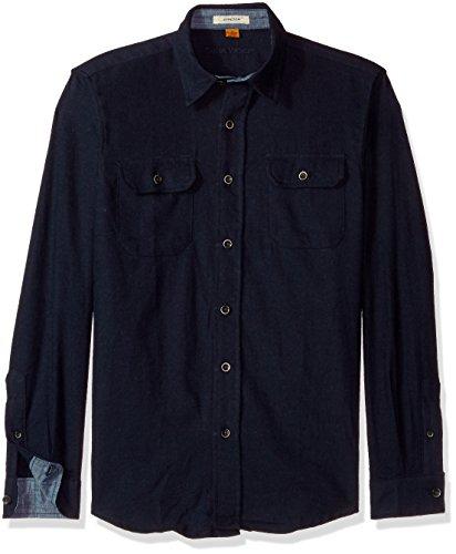 Tailor Vintage Herren Heather Brushed Double Pocket Flannel Shirt Button Down Hemd, Navy, Groß - Button-down-vintage-sport-shirt