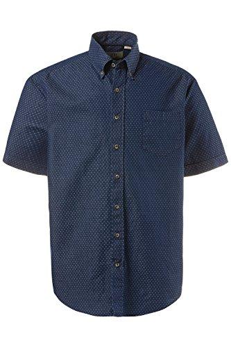 JP 1880 Herren große Größen bis 7XL | Halbarm Hemd | reine Baumwolle, Buttondown | Modern Fit, anliegend | dunkelblau mit Punkten, Denim | 712446 Blue Denim