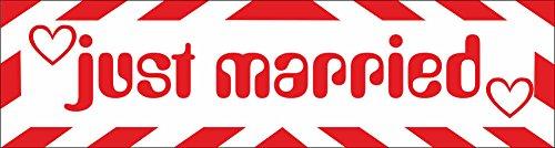 INDIGOS UG Magnetschild Just married mit Rahmen 45 x 12 cm - Magnetfolie für Auto/LKW/Truck/Baustelle/Firma -